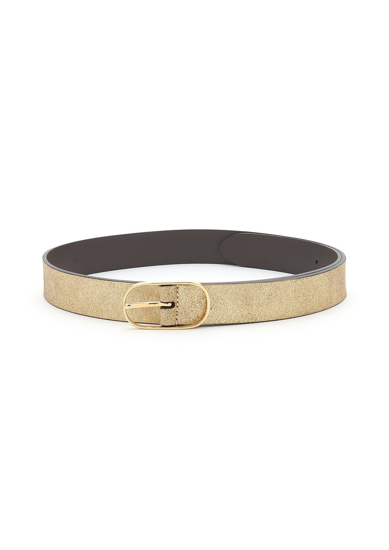 Metallic Leather Belt - Brown & Gold main image