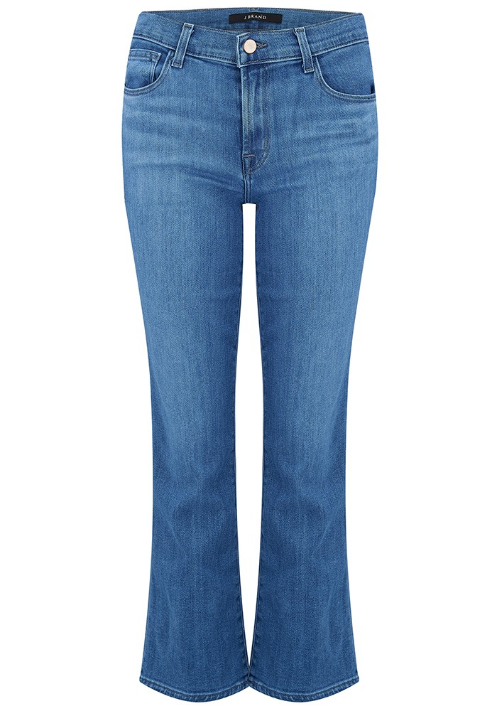 Selena Mid Rise Cropped Boot Cut Jeans - True Love main image