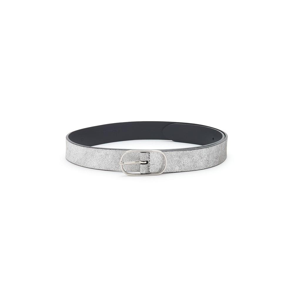 Metallic Leather Belt - Silver