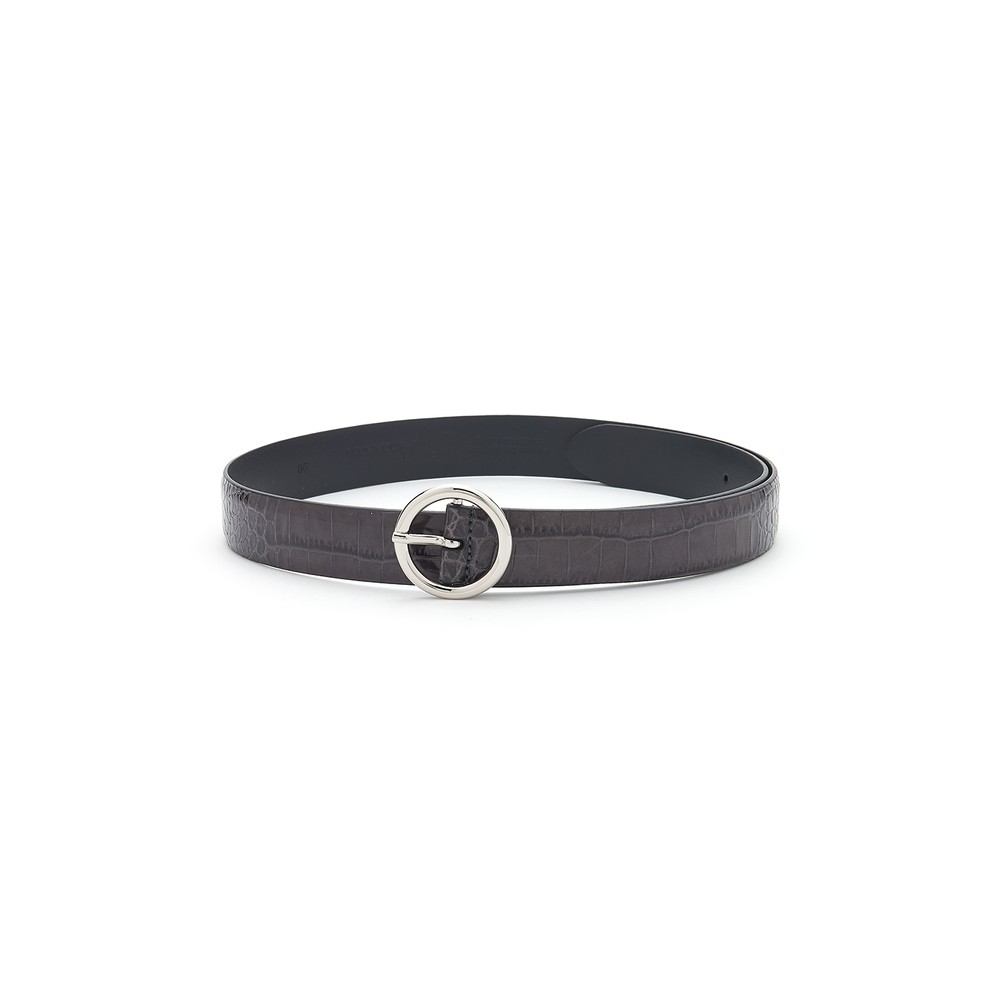 Crocodile Leather Belt - Black