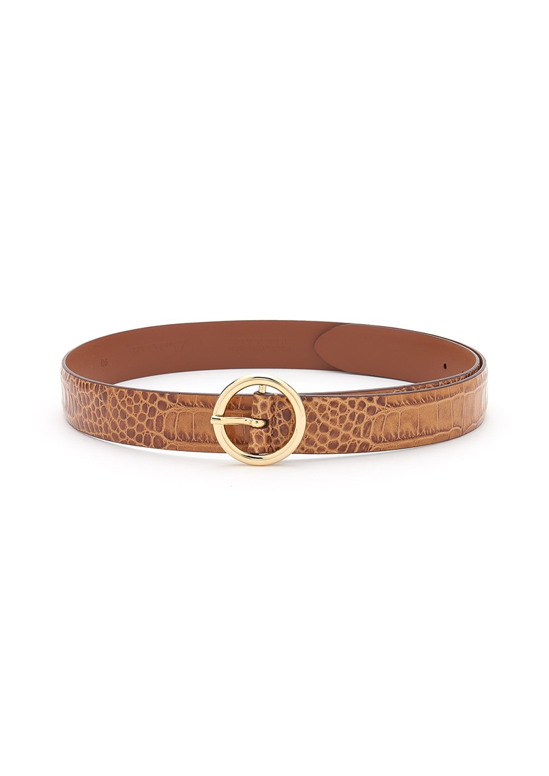 Crocodile Effect Leather Belt - Tan  main image