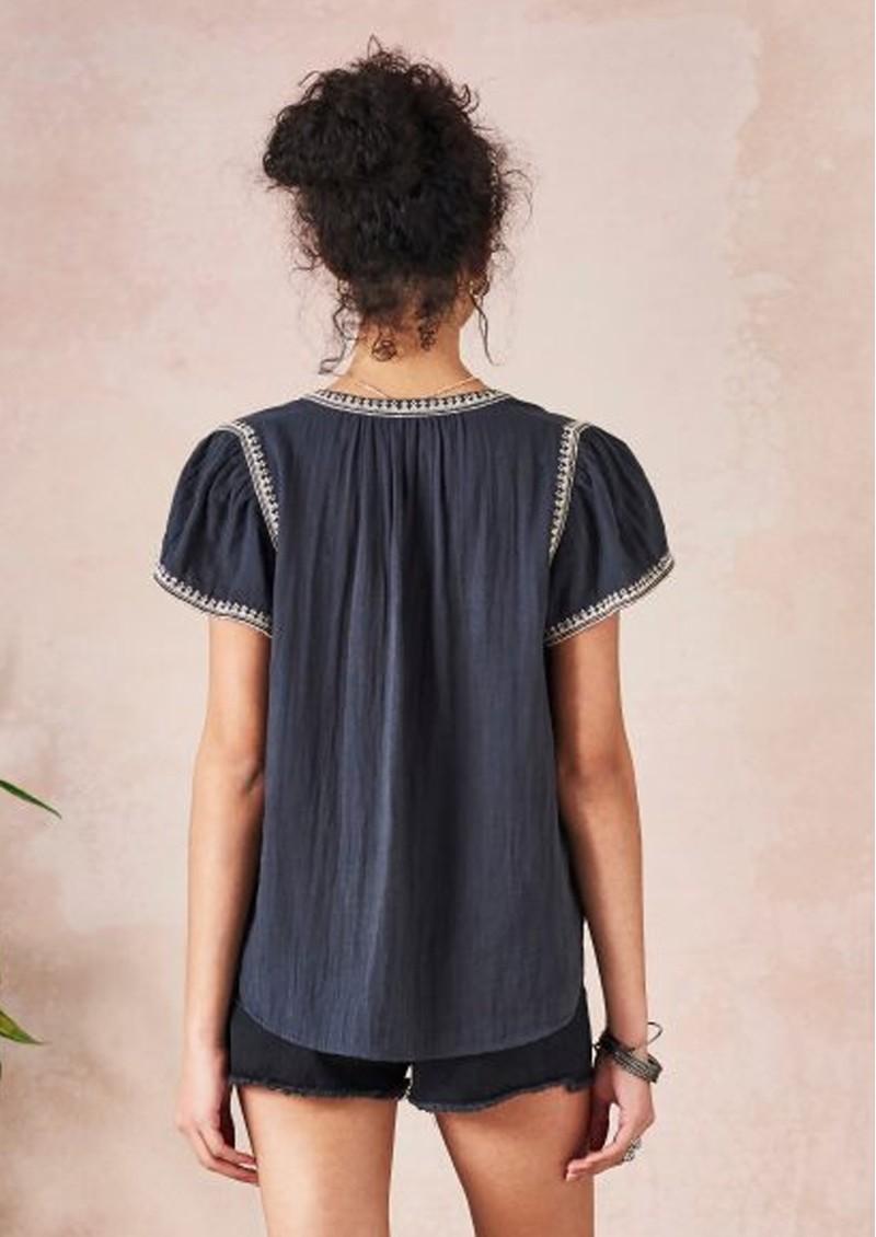 Star Mela Avery Embellished Top - Black & Beige main image