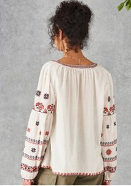 Star Mela Rilla Embroidered Blouse - Ecru