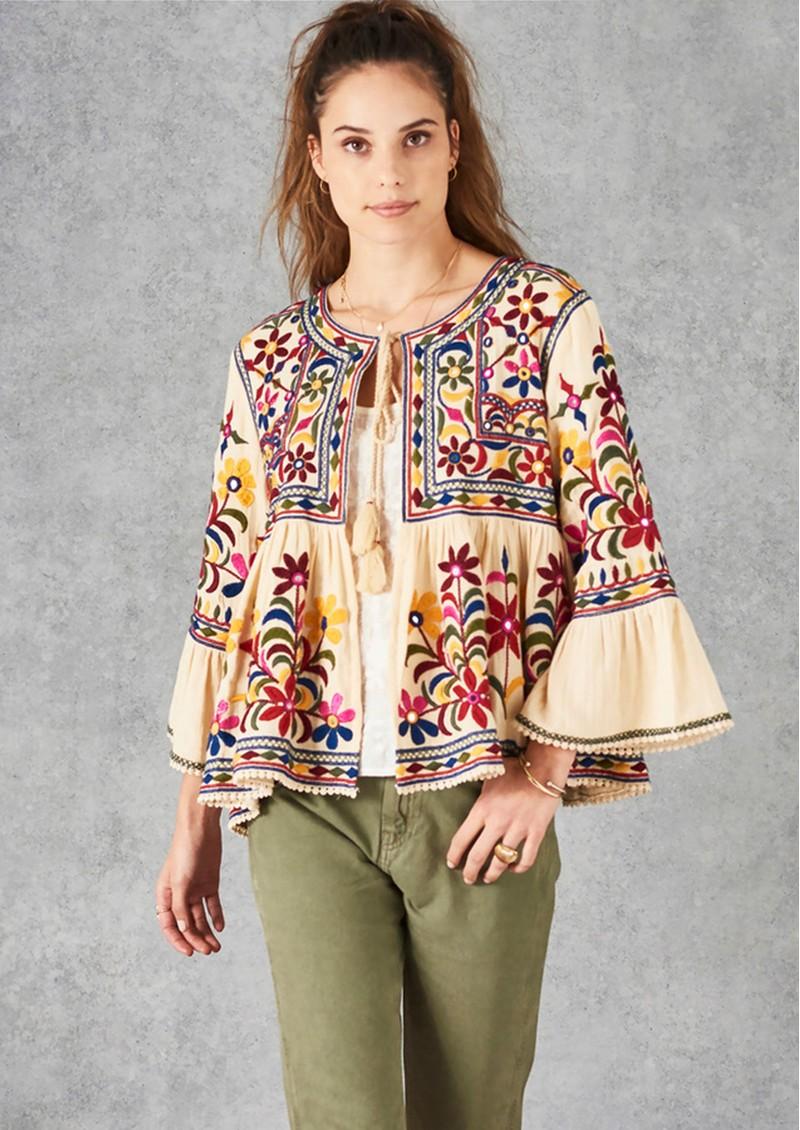 Star Mela Meli Embellished Jacket - Ecru Multi main image