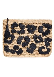 NOOKI Leopard Embroidered Raffia Clutch - Black