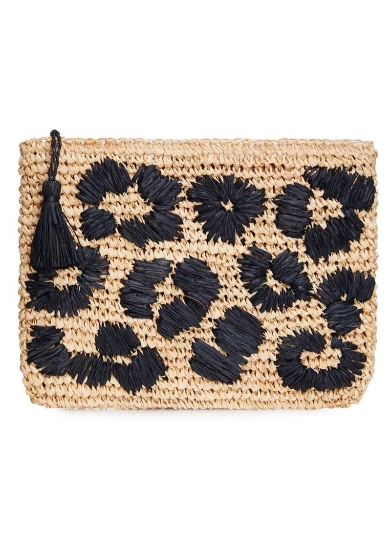 NOOKI Leopard Embroidered Raffia Clutch - Black main image