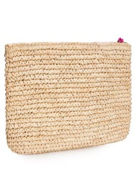 NOOKI Leopard Embroidered Raffia Clutch - Pink
