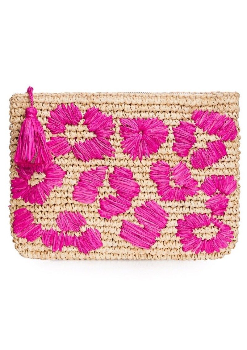 NOOKI Leopard Embroidered Raffia Clutch - Pink main image