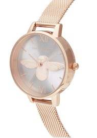 Olivia Burton Demi Bee Blush Dial Mesh Watch -  Rose Gold