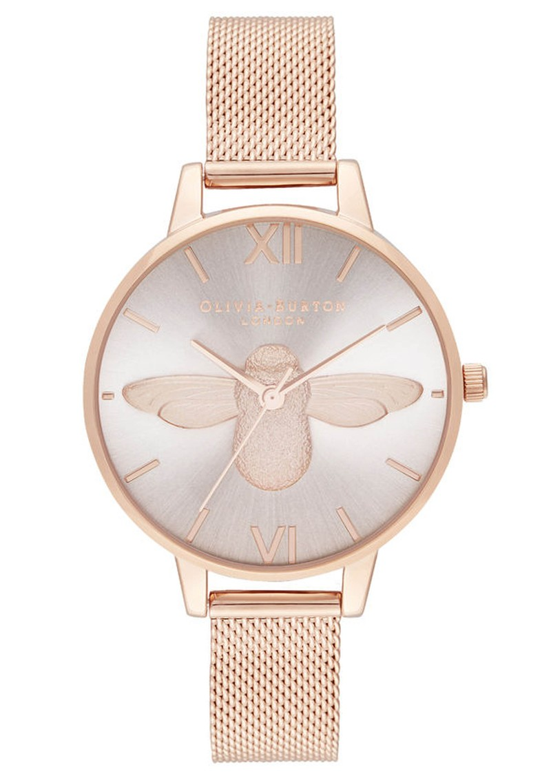 Olivia Burton Demi Bee Blush Dial Mesh Watch -  Rose Gold main image
