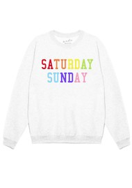 ON THE RISE Saturday Sunday Rainbow Sweater - White
