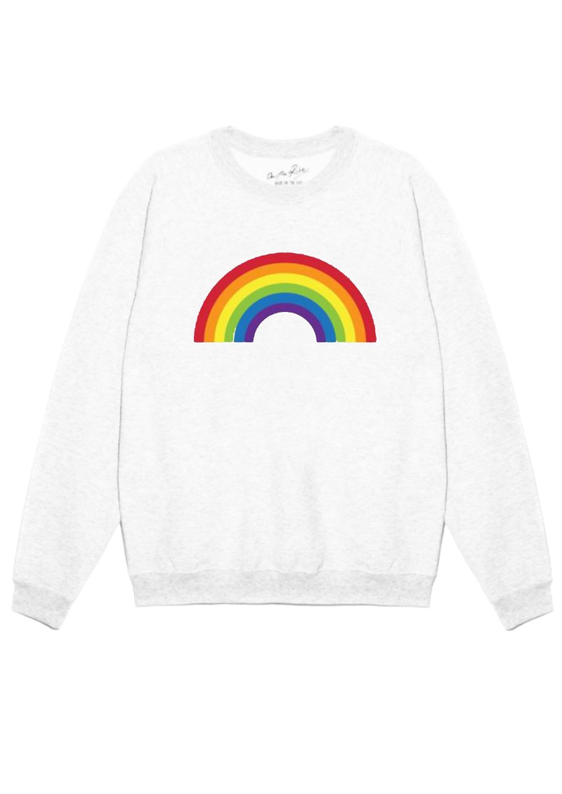ON THE RISE Rainbow Sweater - White main image