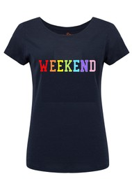 ON THE RISE Weekend Rainbow Tee - Navy