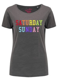 ON THE RISE Saturday Sunday Rainbow Tee - Grey