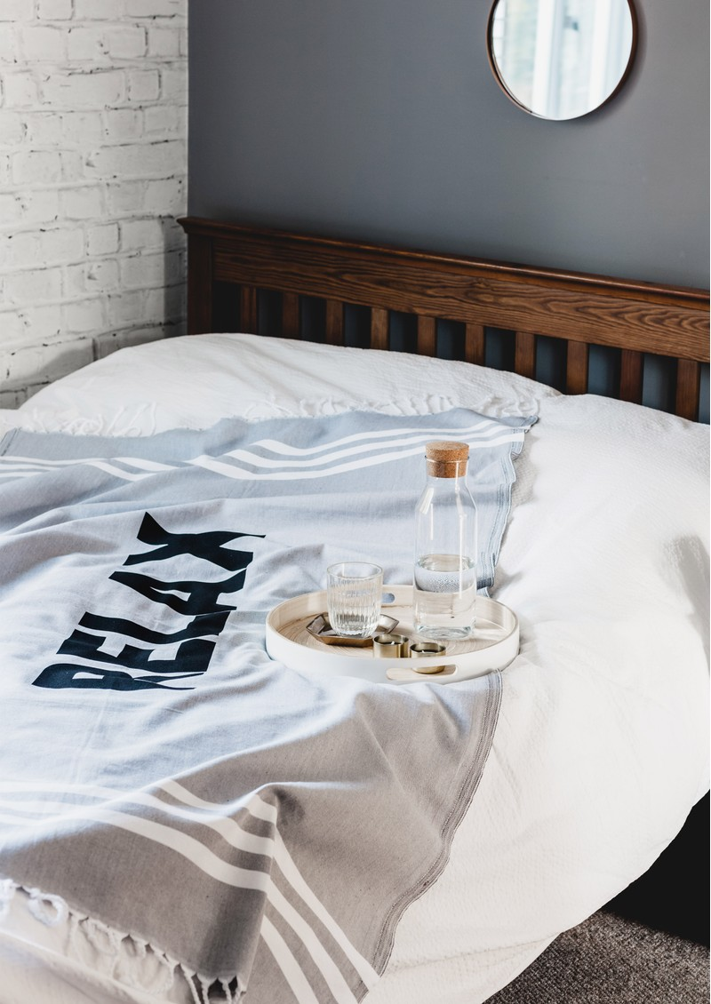 HAMMAMHAVLU Relax Print Esra Towel -Soft Grey main image