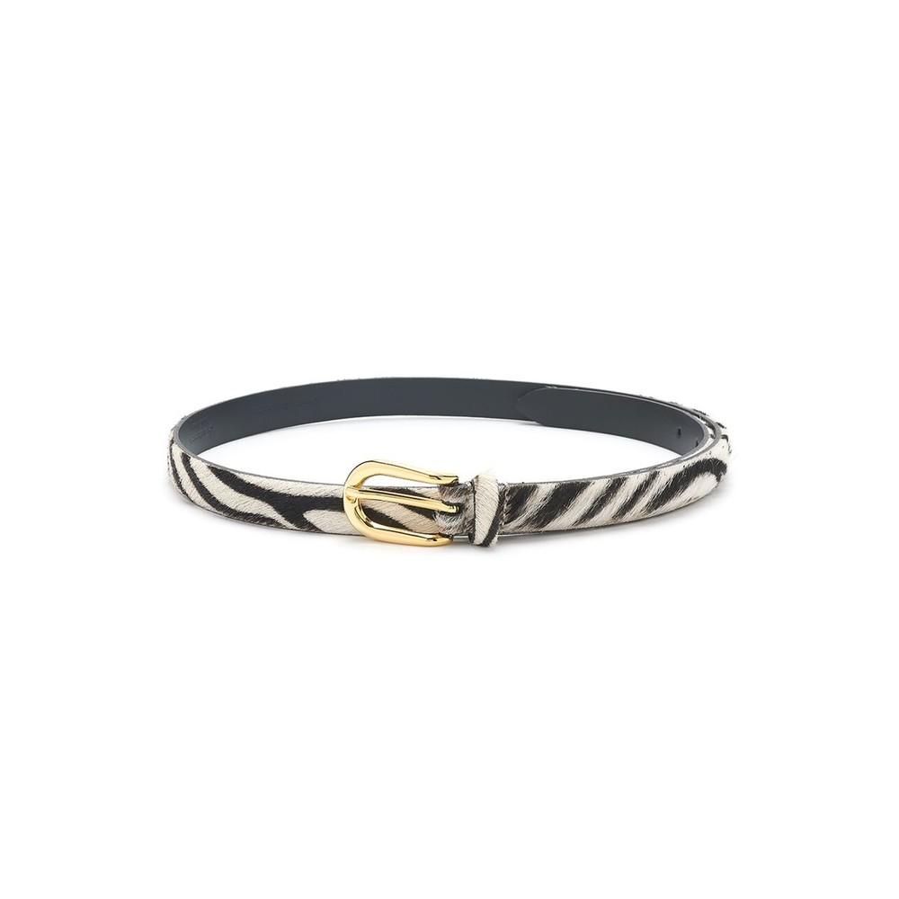 Zebra Pony Hair Skinny Belt -Zebra