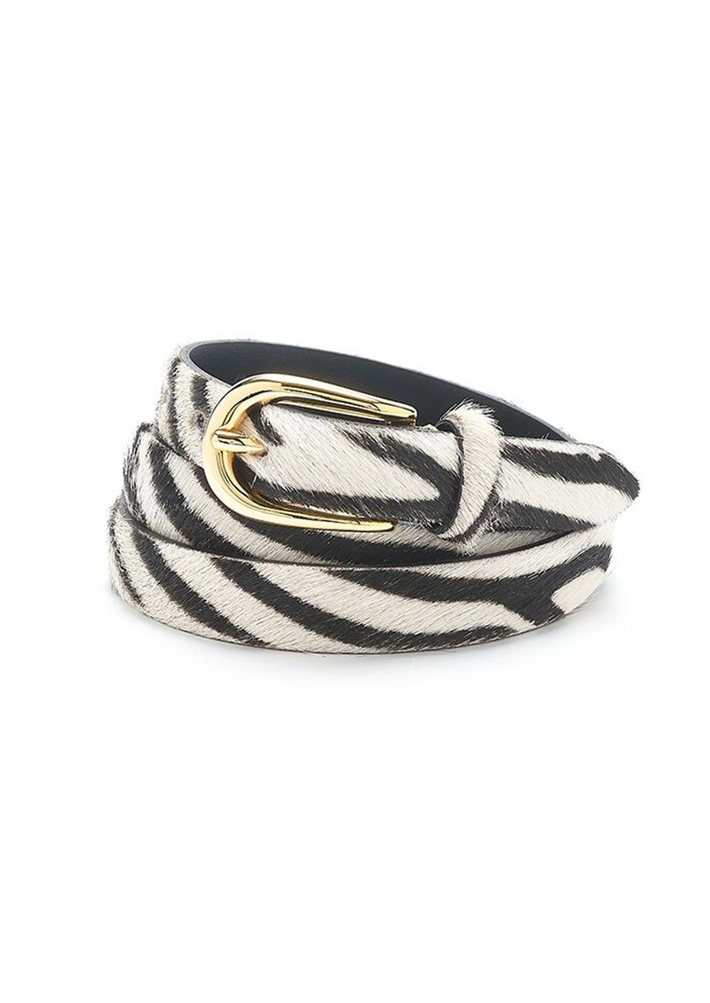 Zebra Pony Hair Skinny Belt -Zebra main image