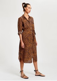 ESSENTIEL ANTWERP Staple Leopard Shirt Dress -Sesame