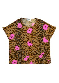 ESSENTIEL ANTWERP Serena Leopard Short Sleeve Top - Sesame