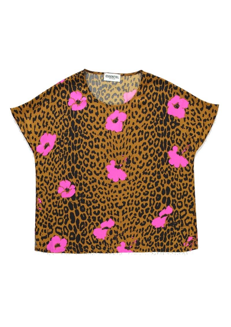 ESSENTIEL ANTWERP Serena Leopard Short Sleeve Top - Sesame main image