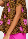 ESSENTIEL ANTWERP Serena Leopard Short Sleeve Top - Sesame