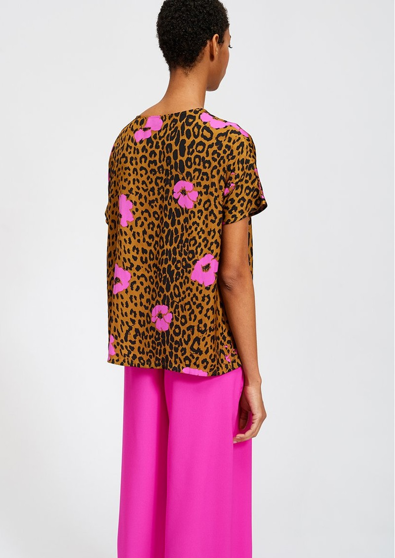 ESSENTIEL ANTWERP Serena Leopard Short Sleeve Top - Sesame main image