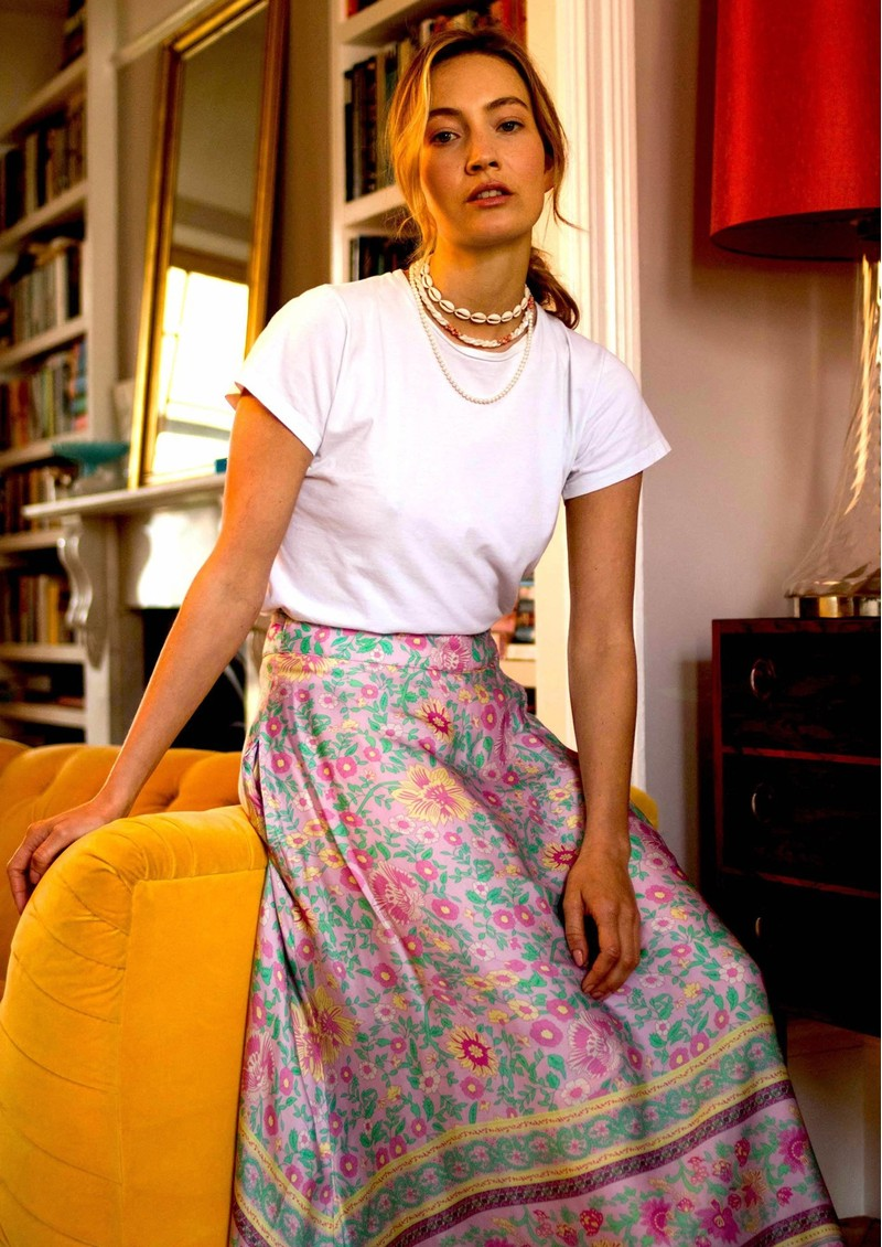 BAILEY & BUETOW Audrey Print Wrap Skirt - Pink Multi main image