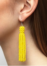 SUI AVA Alexis Crystal Tassel Earrings - Yellow