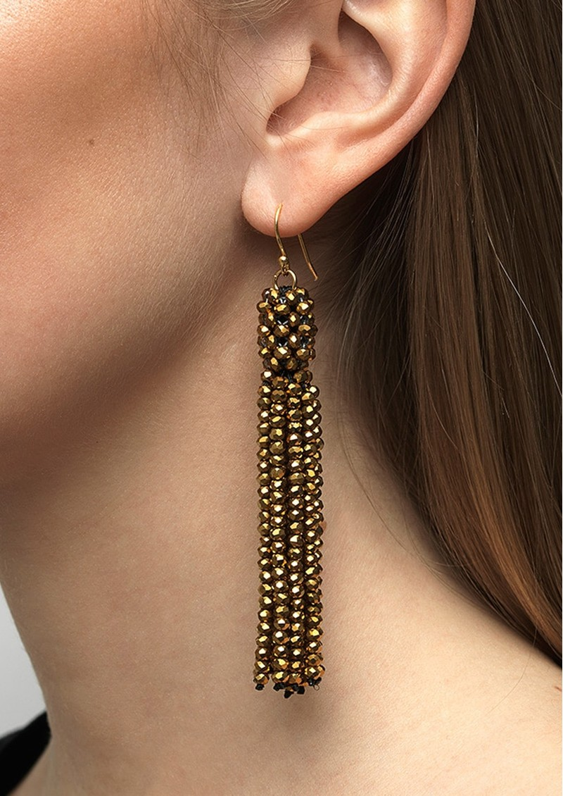 SUI AVA Alexis Crystal Tassel Earrings - Gold main image