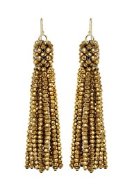 SUI AVA Alexis Crystal Tassel Earrings - Gold