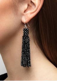 SUI AVA Alexis Crystal Tassel Earrings - Black