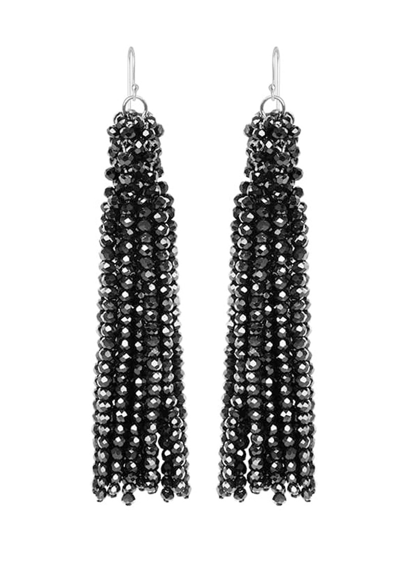 SUI AVA Alexis Crystal Tassel Earrings - Black main image