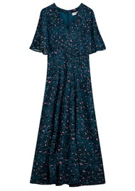 Pyrus Dahliah Maxi Silk Dress - Animal Blue