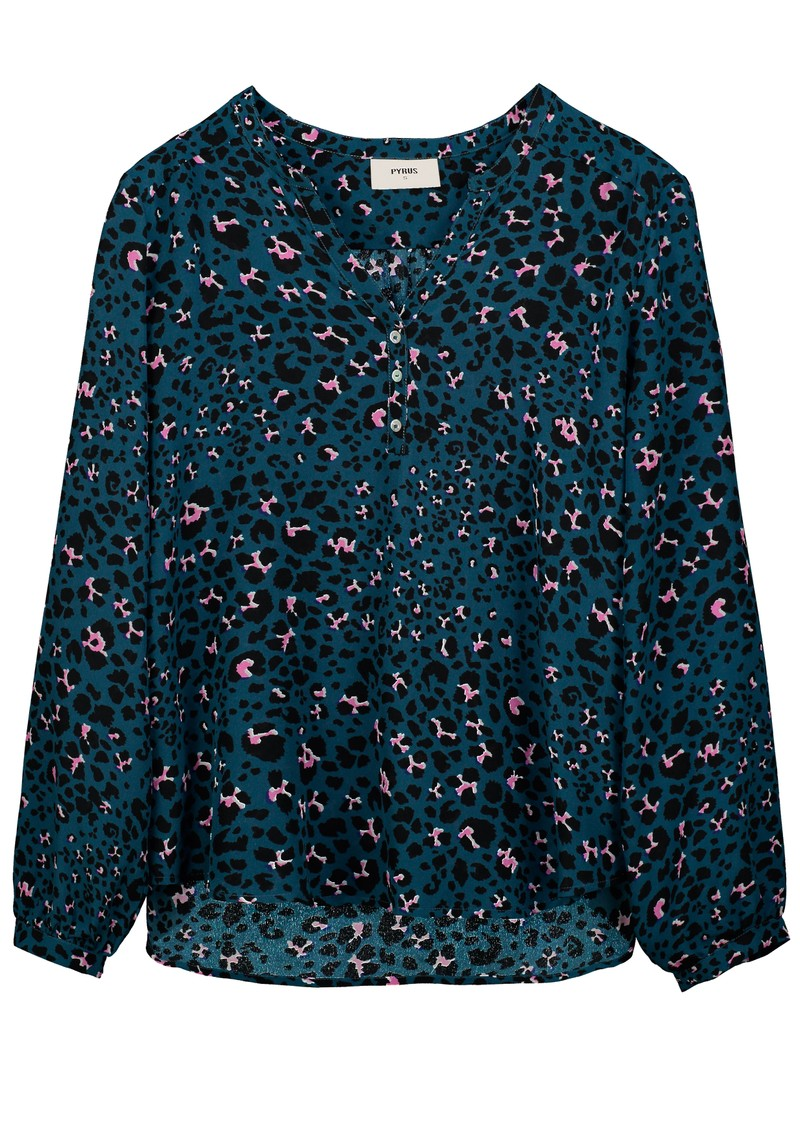 Pyrus Lizzie Silk Blouse - Animal Blue main image