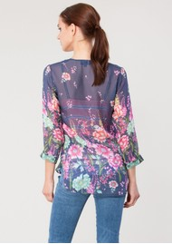 Hale Bob Avalon Silk Chiffon Blouse - Navy