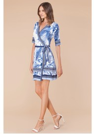 Hale Bob Naima Wrap Jersey Dress - Blue