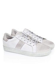 AIR & GRACE Cru Vintage Leather Trainer - Vintage White