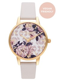 Olivia Burton Wild Flower Vegan Friendly Midi Dial Watch - Blush & Pale Gold