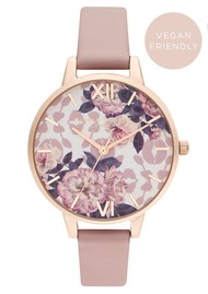 Olivia Burton Wild Flower Vegan Friendly Demi Dial Watch - Rose & Pale Rose Gold