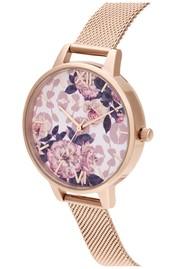 Olivia Burton Wild Flower Demi Dial Mesh Watch - Pale Rose Gold