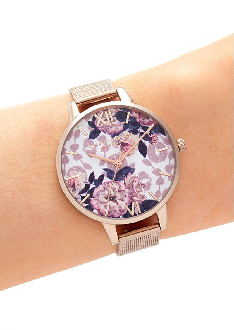 Olivia Burton Wild Flower Demi Dial Mesh Watch - Pale Rose Gold main image