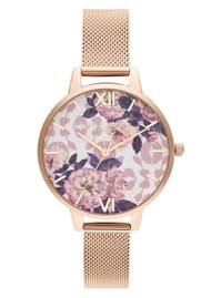 Olivia Burton Wild Flower Demi Dial Mesh Watch - Pale Rose Gold