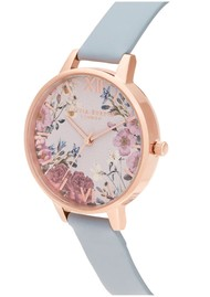 Olivia Burton British Blooms Demi Dial Watch - Chalk Blue & Rose Gold