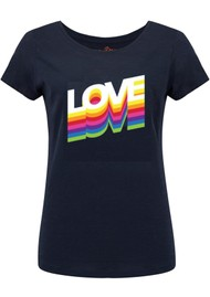 ON THE RISE Rainbow Love Tee - Navy