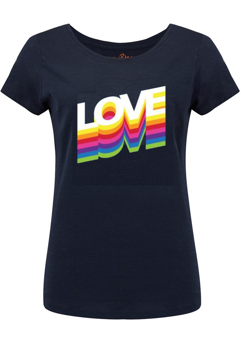 ON THE RISE Rainbow Love Tee - Navy main image