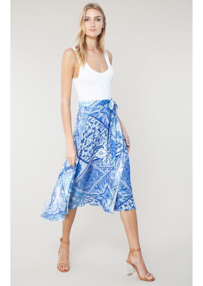 Hale Bob Svetlana Printed Wrap Skirt - Blue main image