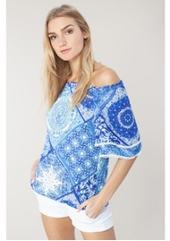 Hale Bob Iliana Off The Shoulder Printed Top - Blue