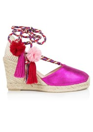 AIR & GRACE Shimmie Espadrille Wedge - Pink Metallic