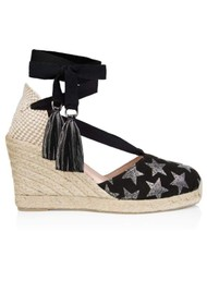 AIR & GRACE Shimmie Espadrille Wedge - Black Star