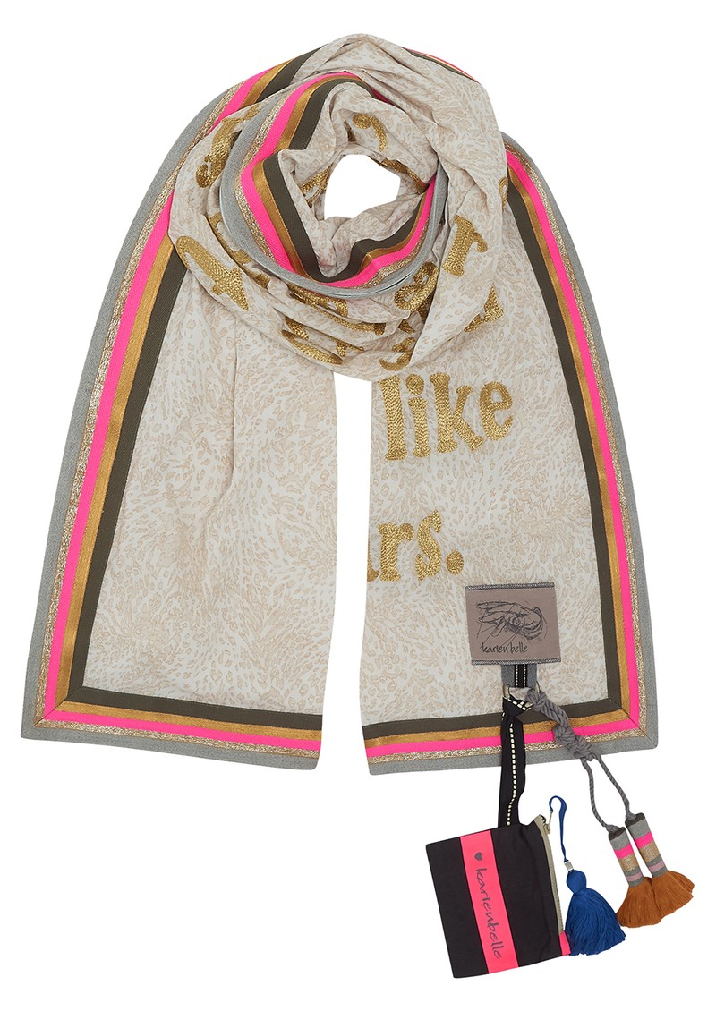 Poetry Leopard Printed Scarf - Beige, Gold & pink main image